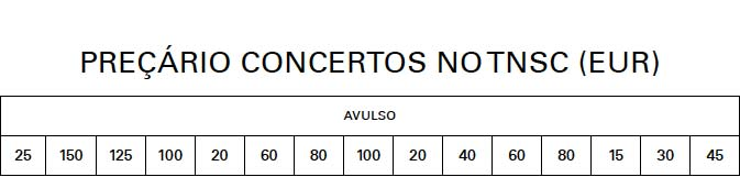 Preçário Concertos no TNSC